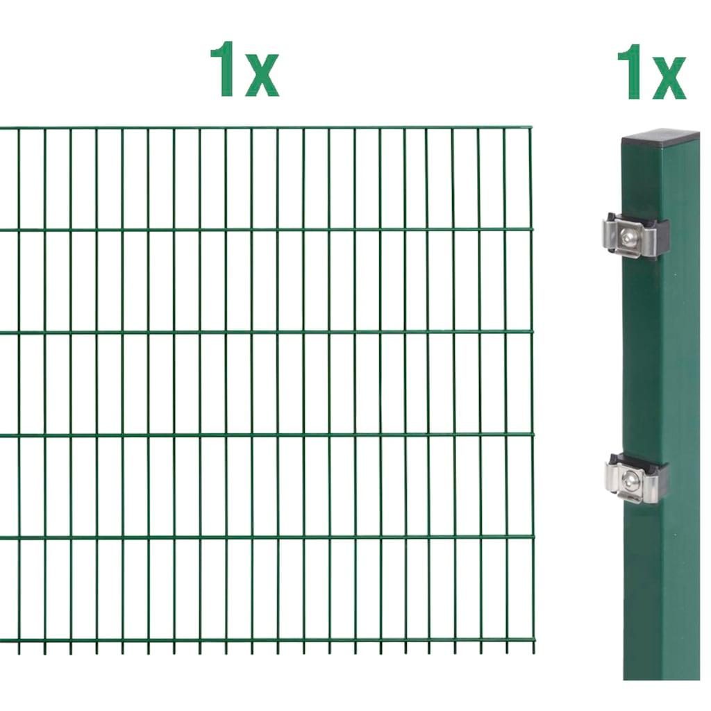 GAH Alberts Doppelstabmattenzaun, Anbauset 120 cm hoch, 1 Matte 2 m, 1 Pfosten