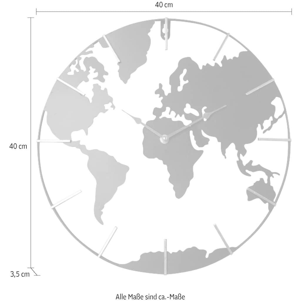 Home affaire Wanduhr »Weltkarte«, rund, Ø 40 cm, aus Metall