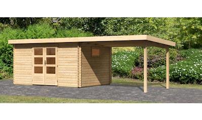 WOODFEELING Set: Gartenhaus »Trittau 5«, BxT: 576x333 cm, mit Anbaudach kaufen