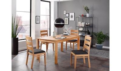 Home affaire Essgruppe »Soeren 3«, (Set, 5 tlg., Tisch 160/90 cm, 4 Stühle, Polstersitz), aus Massivholz kaufen