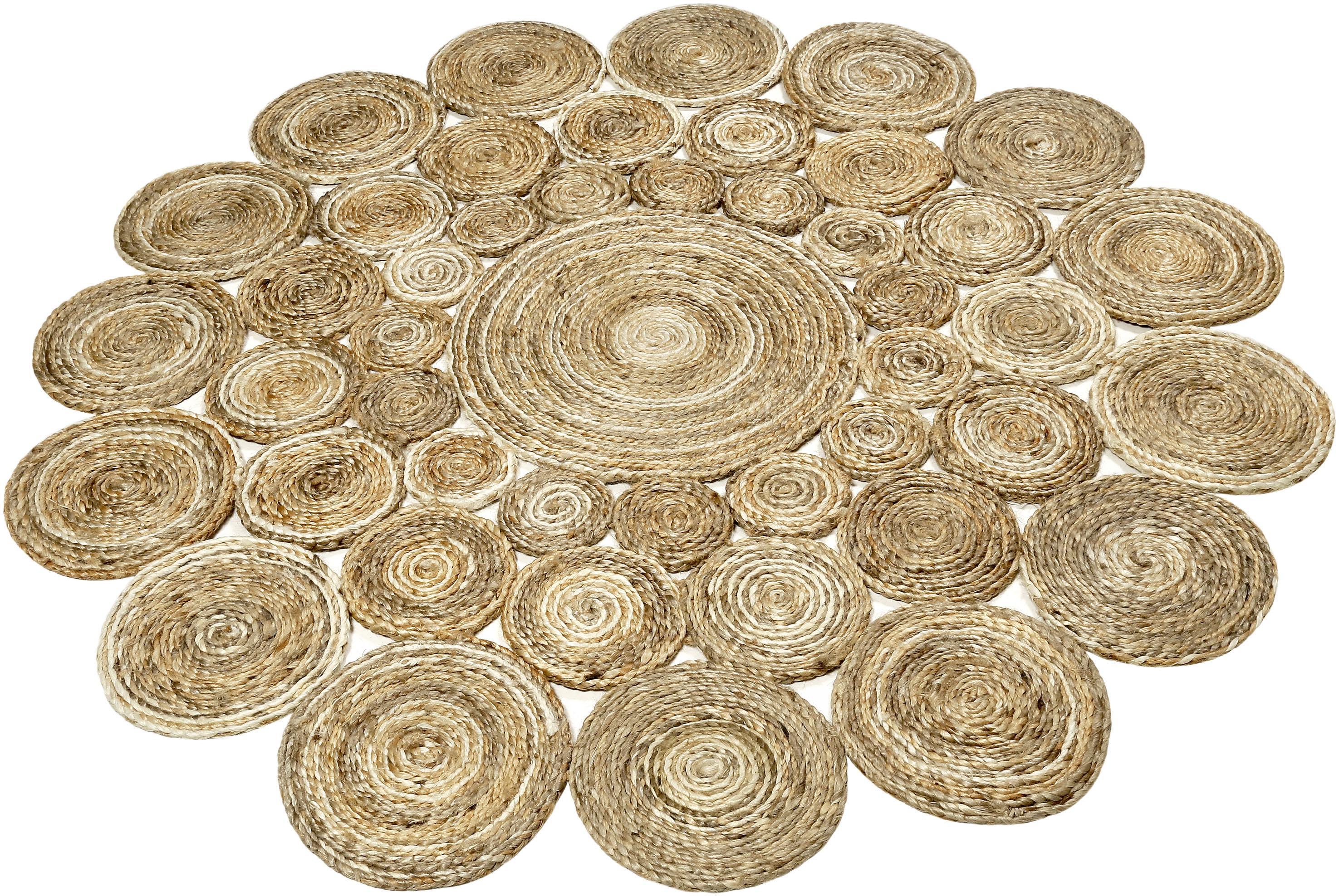 Teppich Ceycle Nature Esprit rund Höhe 7 mm handgewebt