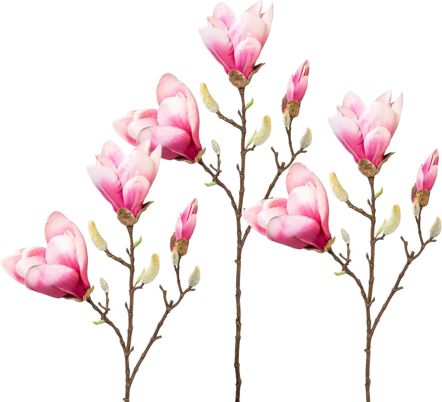 Kunstblume, 3er Set rosa Künstliche Zimmerpflanzen Kunstpflanzen Wohnaccessoires Kunstblume