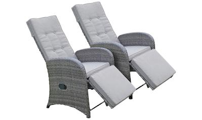 GARDEN PLEASURE Loungesessel »SALERNO«, (2er - Set), Polyrattan, verstellbar, inkl. Auflagen, grau kaufen