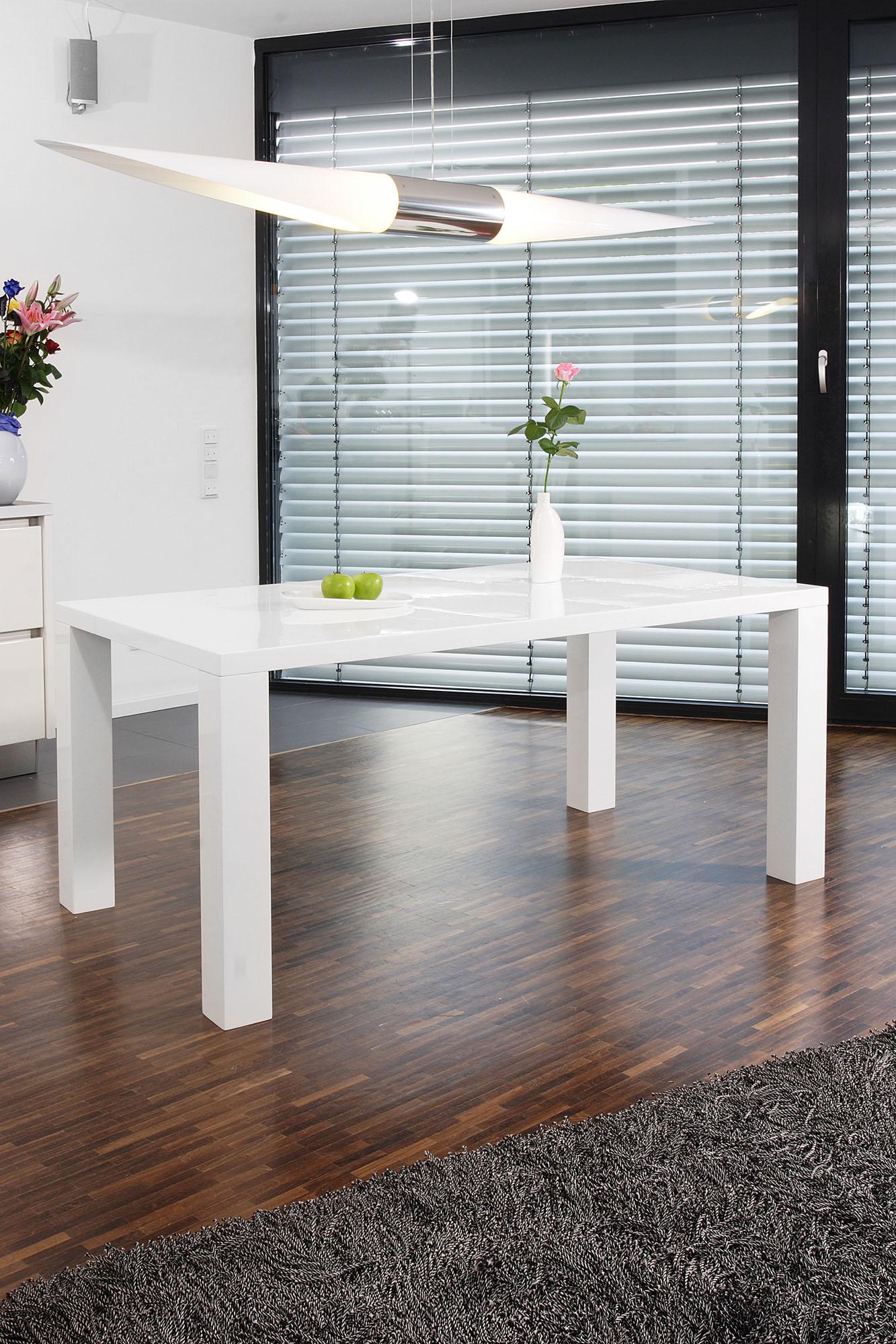SalesFever Esstisch, in edlem Hochglanz weiß Esstisch Esstische rechteckig Tische