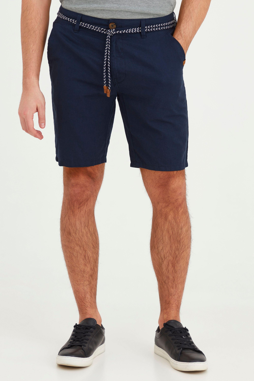 Blend Stoffhose Mennok, Leinen Shorts mit Stoff Gürtel blau Herren