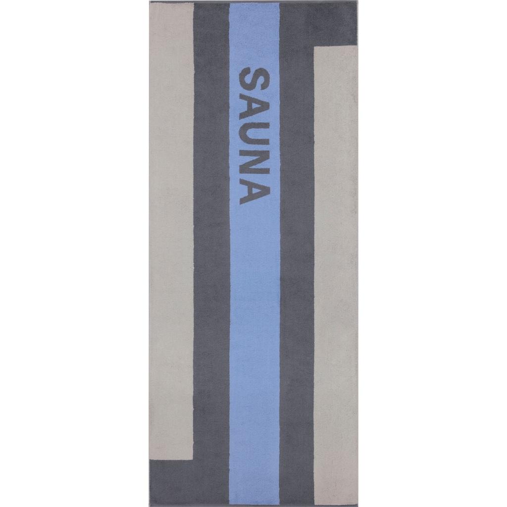 Cawö Saunatuch »Streifen«, (1 St.), mit farbigem Streifen & Schriftzug