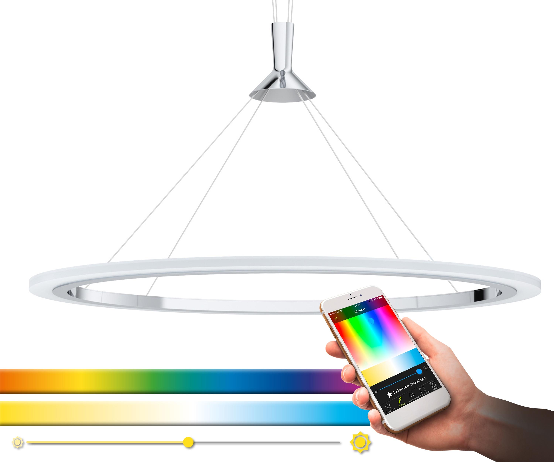 EGLO Pendelleuchte HORNITOS-C, LED-Board, Warmweiß-Tageslichtweiß-Neutralweiß-Kaltweiß, Hängeleuchte, EGLO CONNECT, Steuerung über APP + Fernbedienung, BLE, CCT, RGB, Smart Home, Farbwechsel