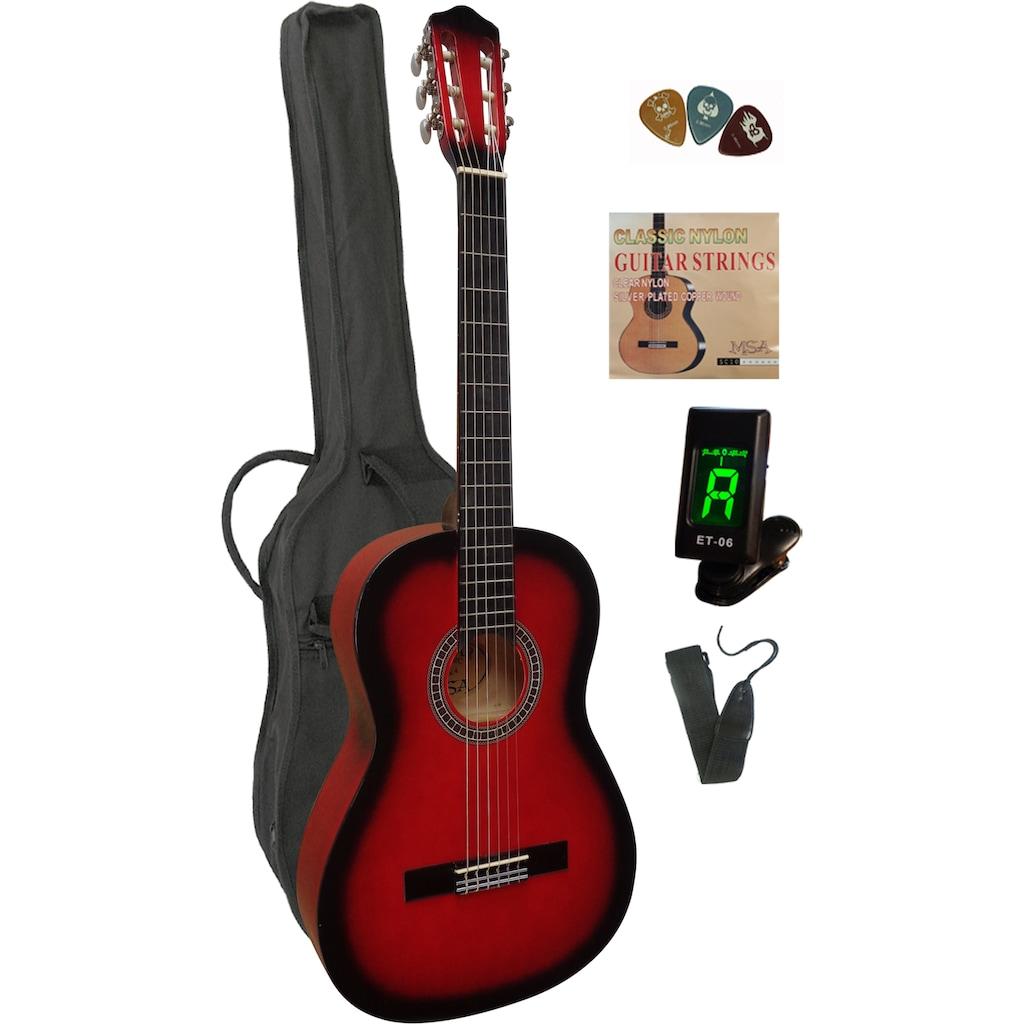 Konzertgitarre, 4/4, inkl. Gitarrentasche, Gitarrengurt, Saiten, 3 Plektren und Stimmgerät