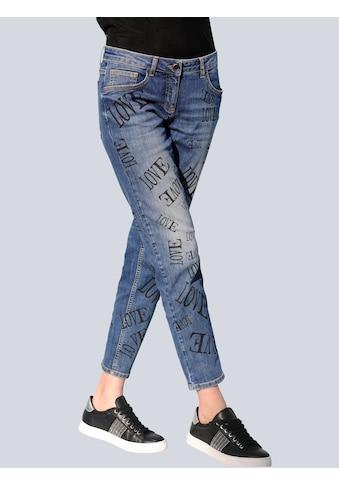 Alba Moda 7/8-Jeans, mit Schriftzüge-Print allover kaufen