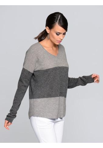 Alba Moda Kaschmirpullover in Colourblocking - Optik kaufen