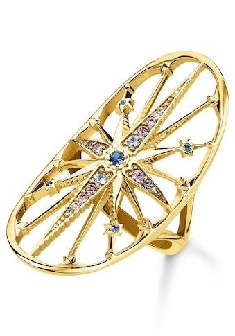 THOMAS SABO Fingerring »Royalty Stern gold, TR2223-959-7-50, 52, 54, 56, 58, 60«, mit Spinell, Zirkonia und Glassteinen kaufen
