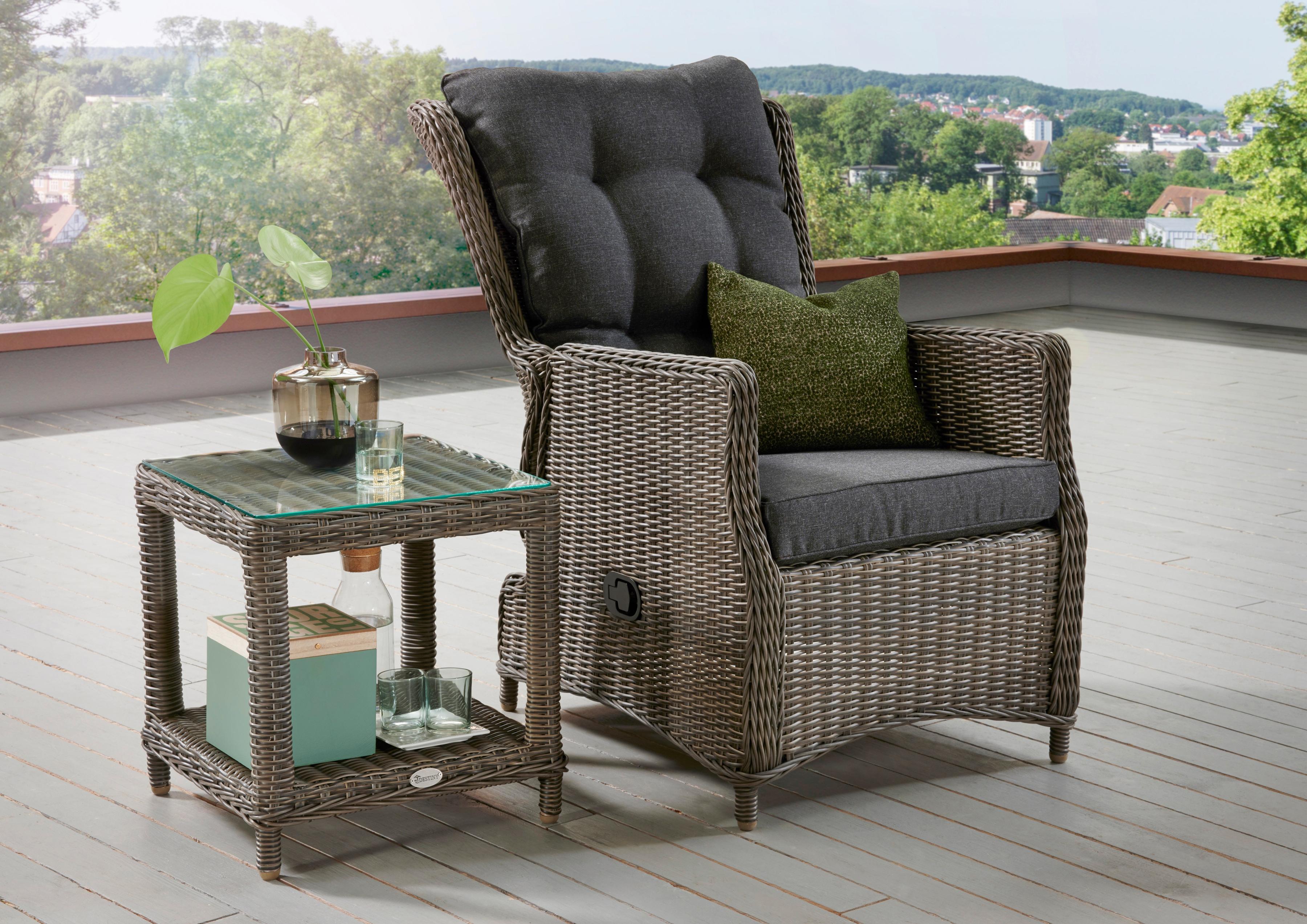 DESTINY Gartenmöbelset Casa/Merano 4-tlg Sessel Tisch 46x46 cm Alu/Polyrattan