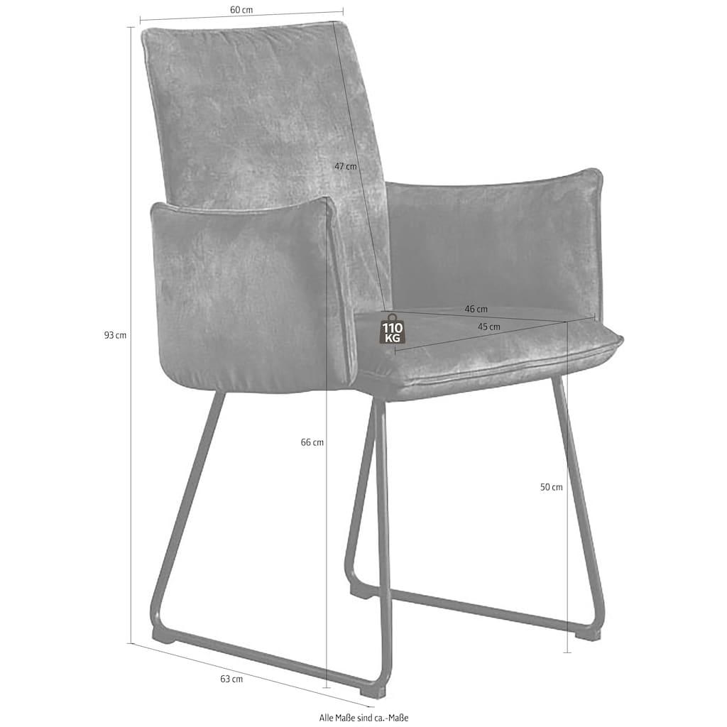 K+W Komfort & Wohnen Kufenstuhl »Deseo II«, Armlehnenstuhl mit Rundrohrkufe in Metall schwarz Struktur