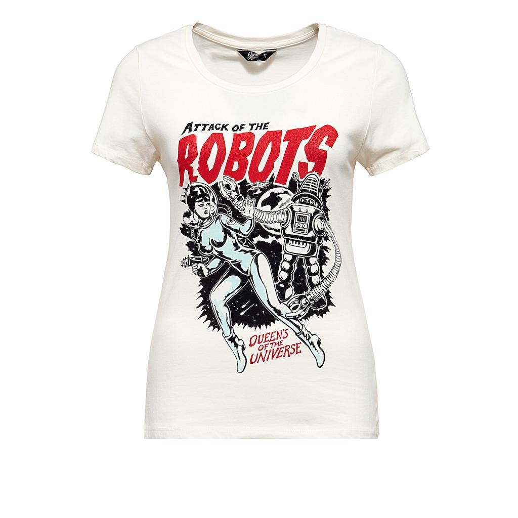 QueenKerosin T-Shirt »Attack of the Robots«, im Vintage Look