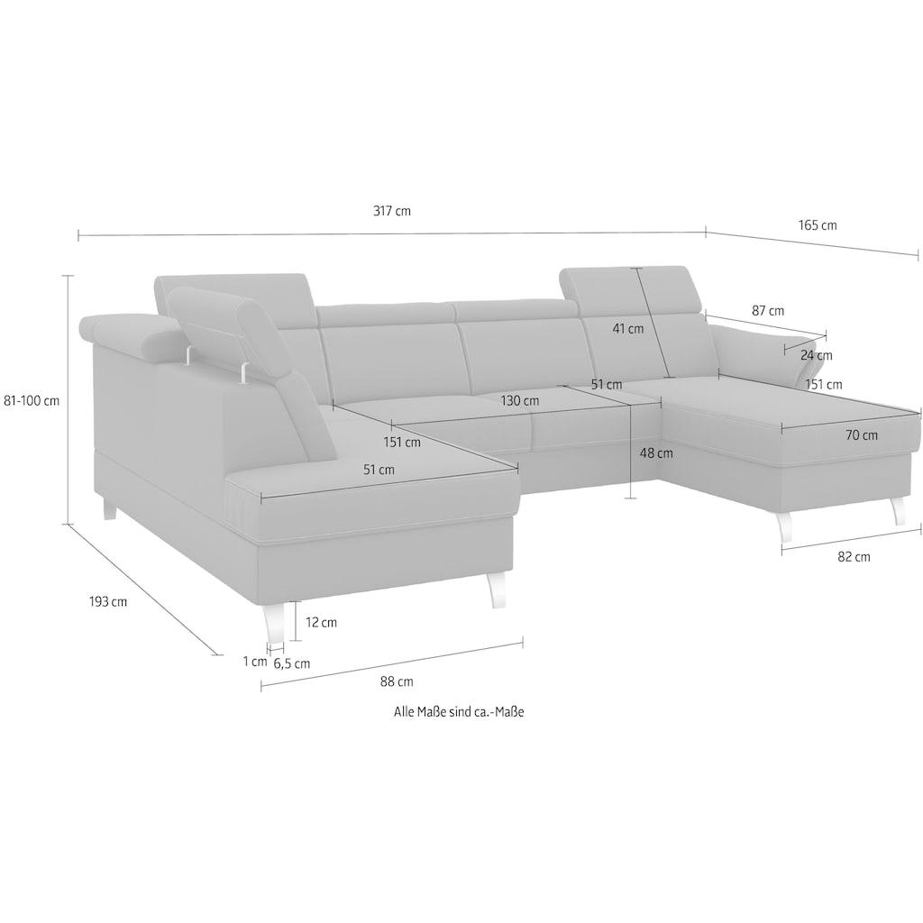 sit&more Wohnlandschaft, inklusive Kopfteilverstellung, wahlweise mit Bettfunktion und Bettkasten