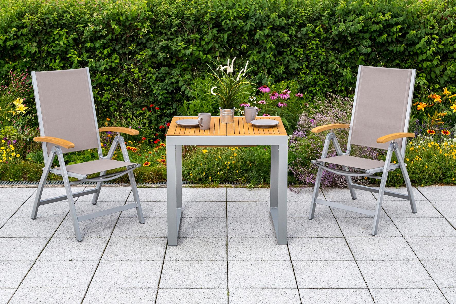 MERXX Gartenmöbelset Naxos 3tlg 2 Sessel Tisch klappbar ausziehbar Akazien