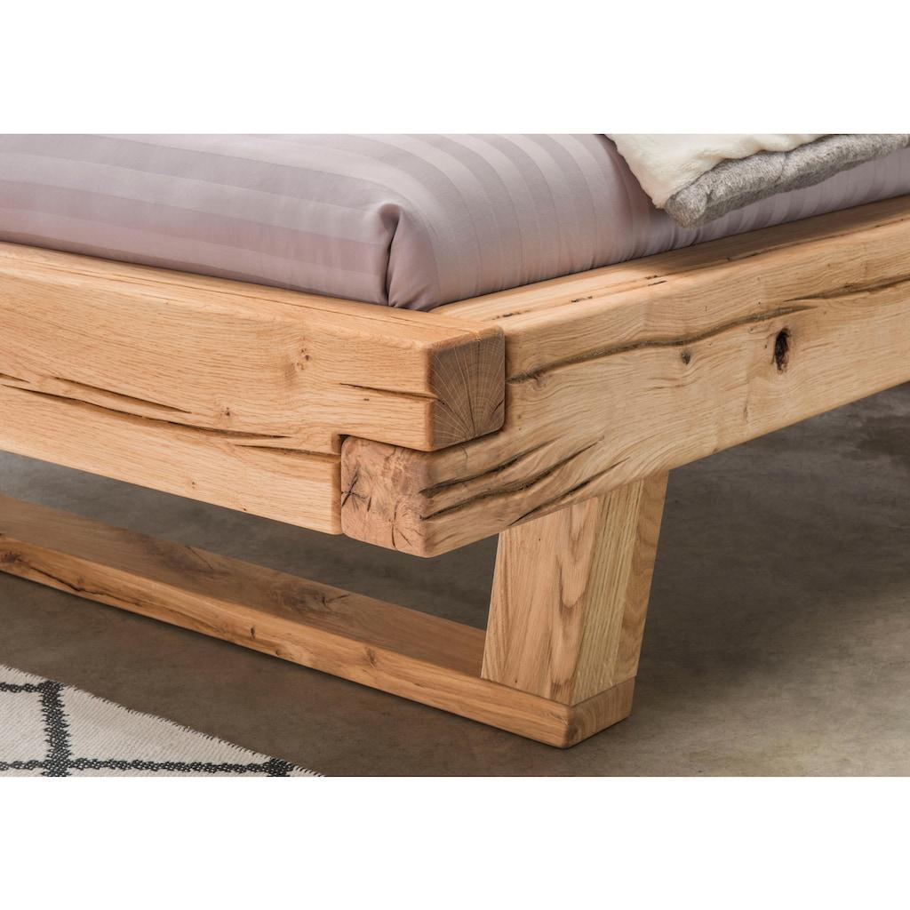 Premium collection by Home affaire Massivholzbett »Ultima«, aus massivem Holz in Balken-Optik, in unterschiedlichen Bettbreiten und Holzfarben