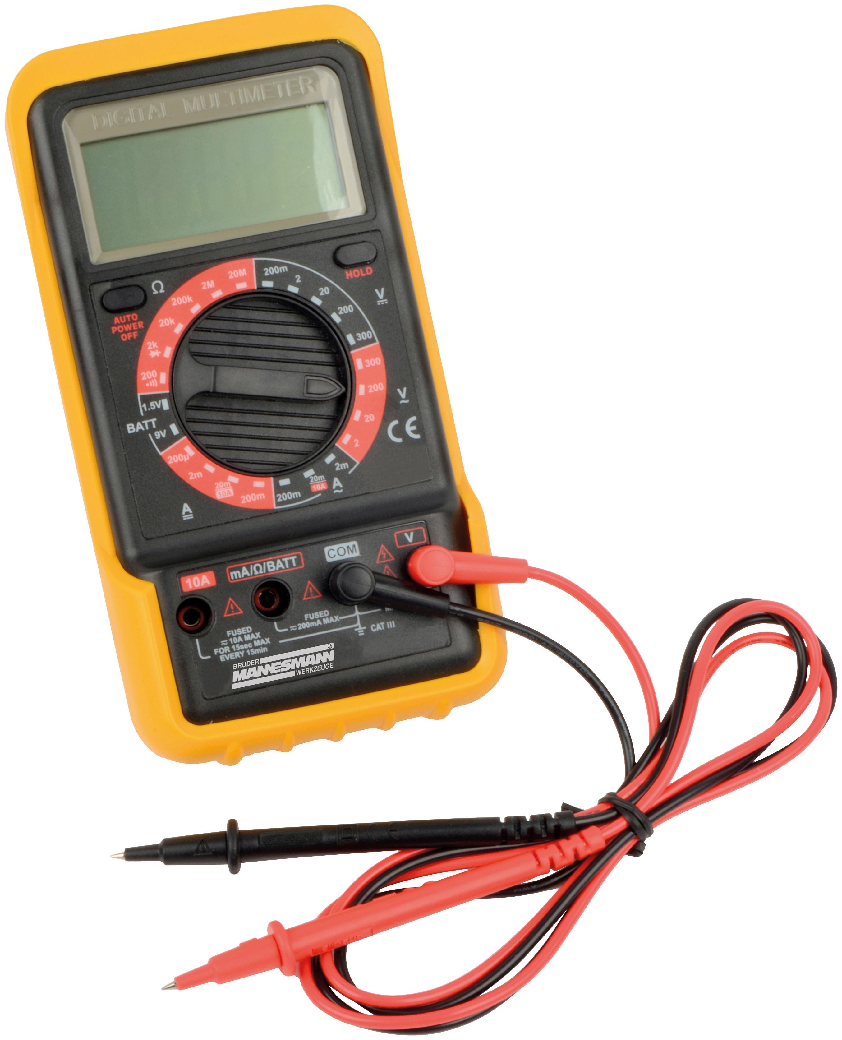 Brüder Mannesmann Werkzeuge Strommessgerät Digital Multimeter gelb