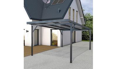 GUTTA Einzelcarport »Premium«, Aluminium, 293,4 cm, anthrazit, BxT: 309x562 cm, Dacheindeckung Polycarbonat gestreift weiß kaufen