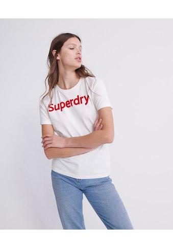 Superdry T-Shirt »REG FLOCK ENTRY TEE«, mit rotem Markenschriftzug kaufen