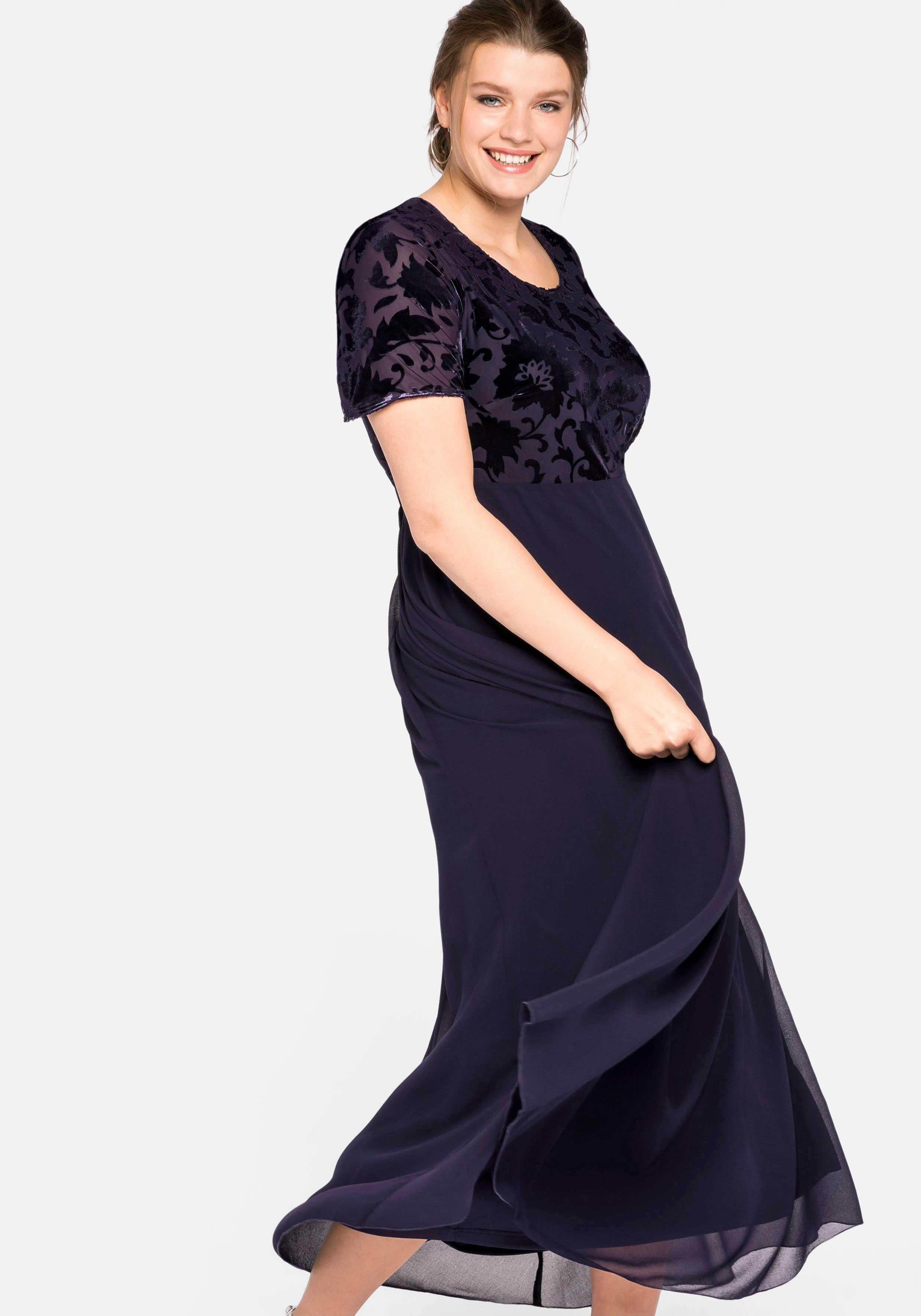 Sheego Abendkleid lila Damen Abendkleider Kleider