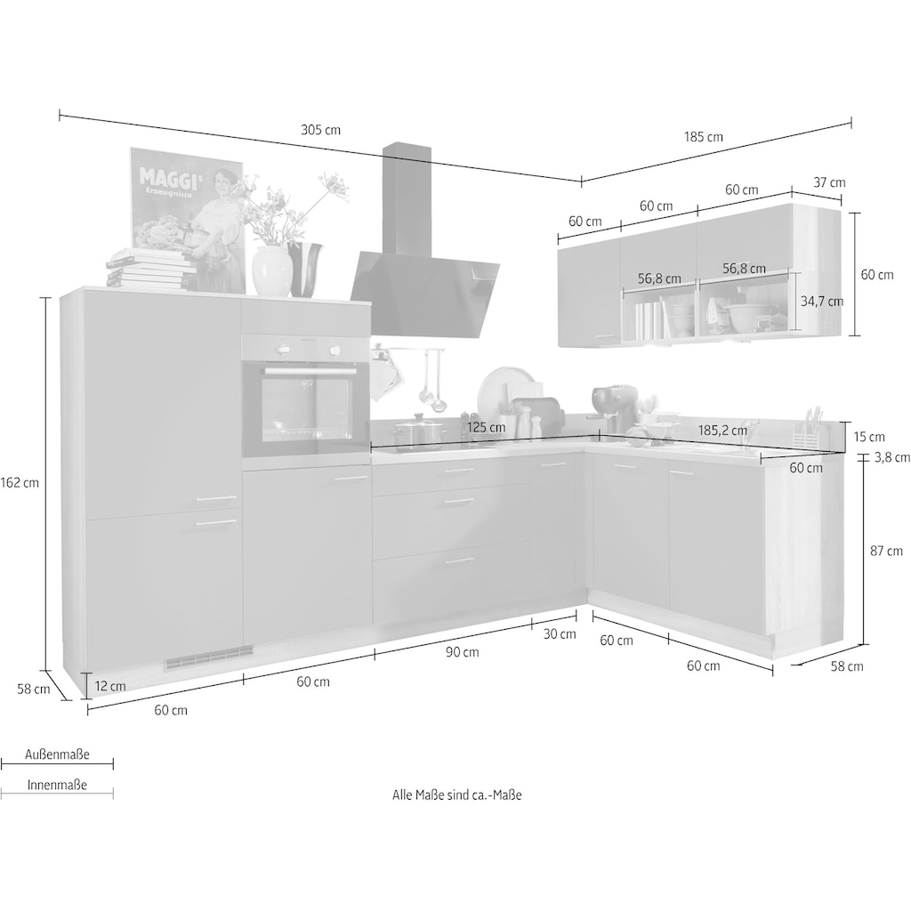 Express Küchen Winkelküche »Scafa«, mit E-Geräten, vormontiert, mit Vollauszügen und Soft-Close-Funktion, Stellbreite 305 x 185 cm