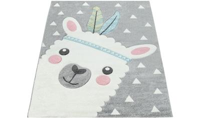 Paco Home Kinderteppich »Ela 214«, rechteckig, 17 mm Höhe, Lama Motiv, Pastell-Farben kaufen
