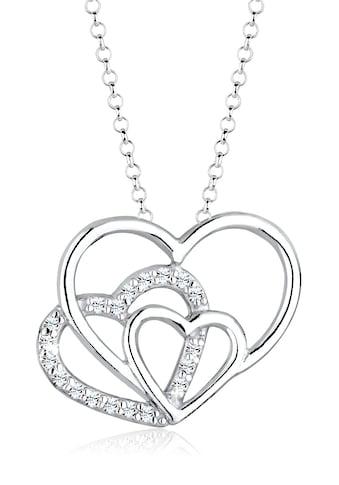 Elli Collierkettchen »3 - Faches Herz Swarovski® Kristalle 925 Silber« kaufen