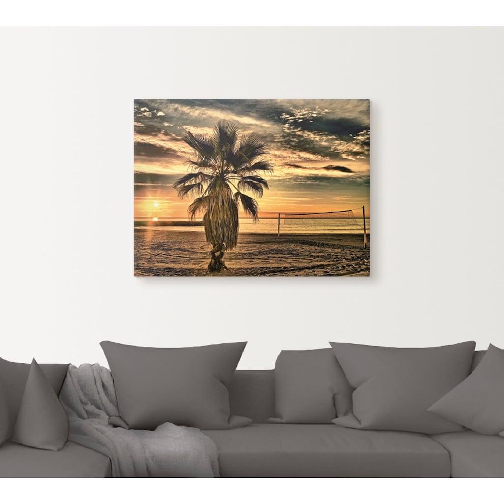 Artland Wandbild »Palme bei Sonnenuntergang«, Sonnenaufgang & -untergang, (1 St.), in vielen Größen & Produktarten - Alubild / Outdoorbild für den Außenbereich, Leinwandbild, Poster, Wandaufkleber / Wandtattoo auch für Badezimmer geeignet