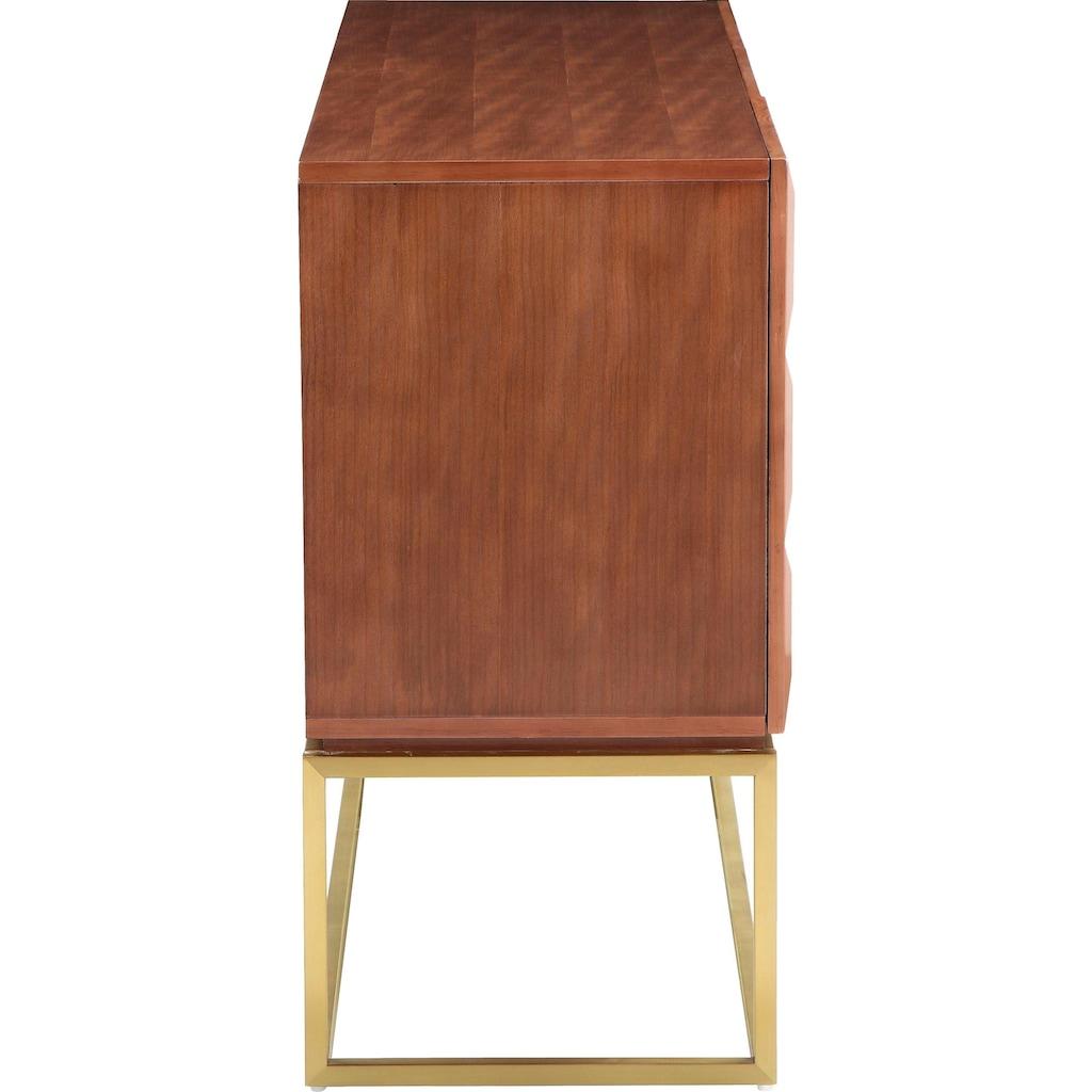 Leonique Sideboard »Alais«, in 3D-Optik, mit viel Stauraum und goldfarbenem Metallgestell