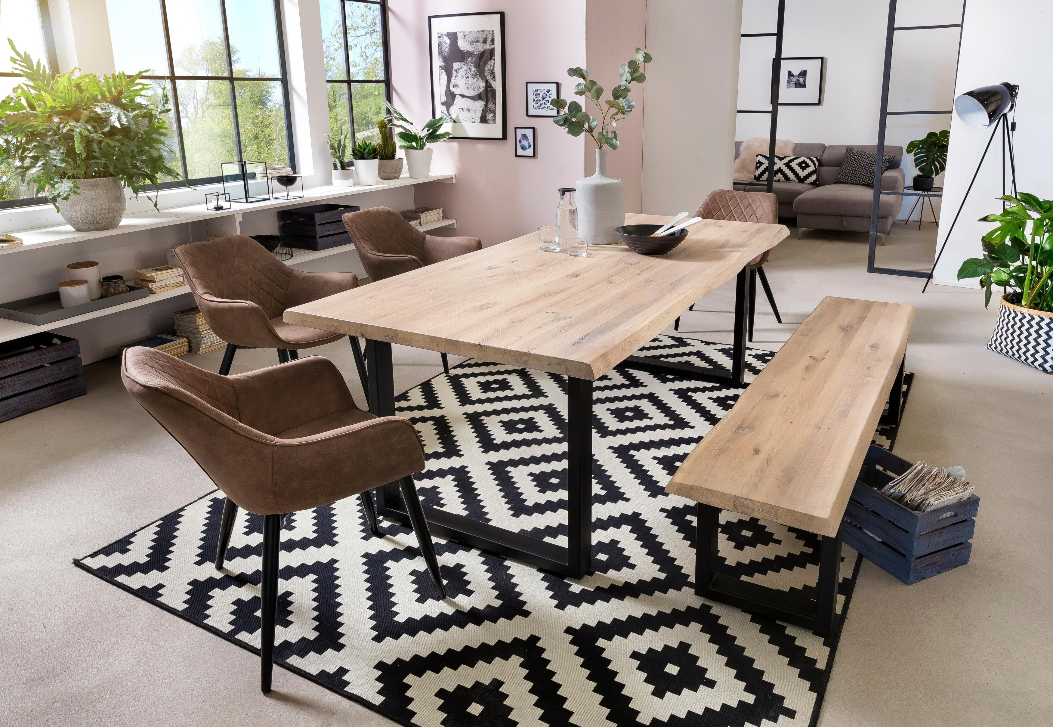 Home affaire Esstisch Tristan, mit Baumkante weiß Holz-Esstische Holztische Tische