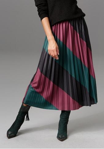 Aniston CASUAL Plisseerock, mit schräg verlaufendem Colorblocking - NEUE KOLLEKTION kaufen