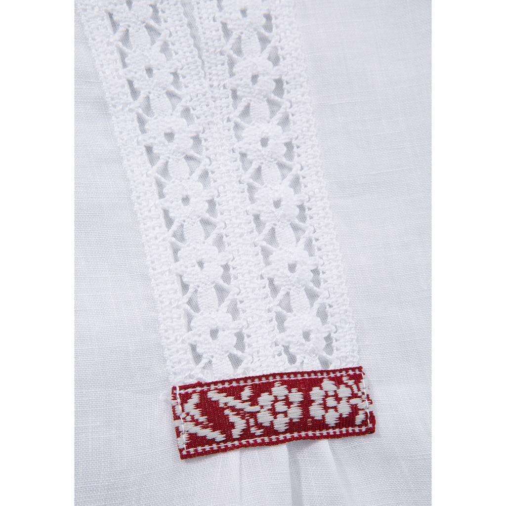 Hammerschmid Trachtenshirt, aus Leinen mit Spitzeneinsatz