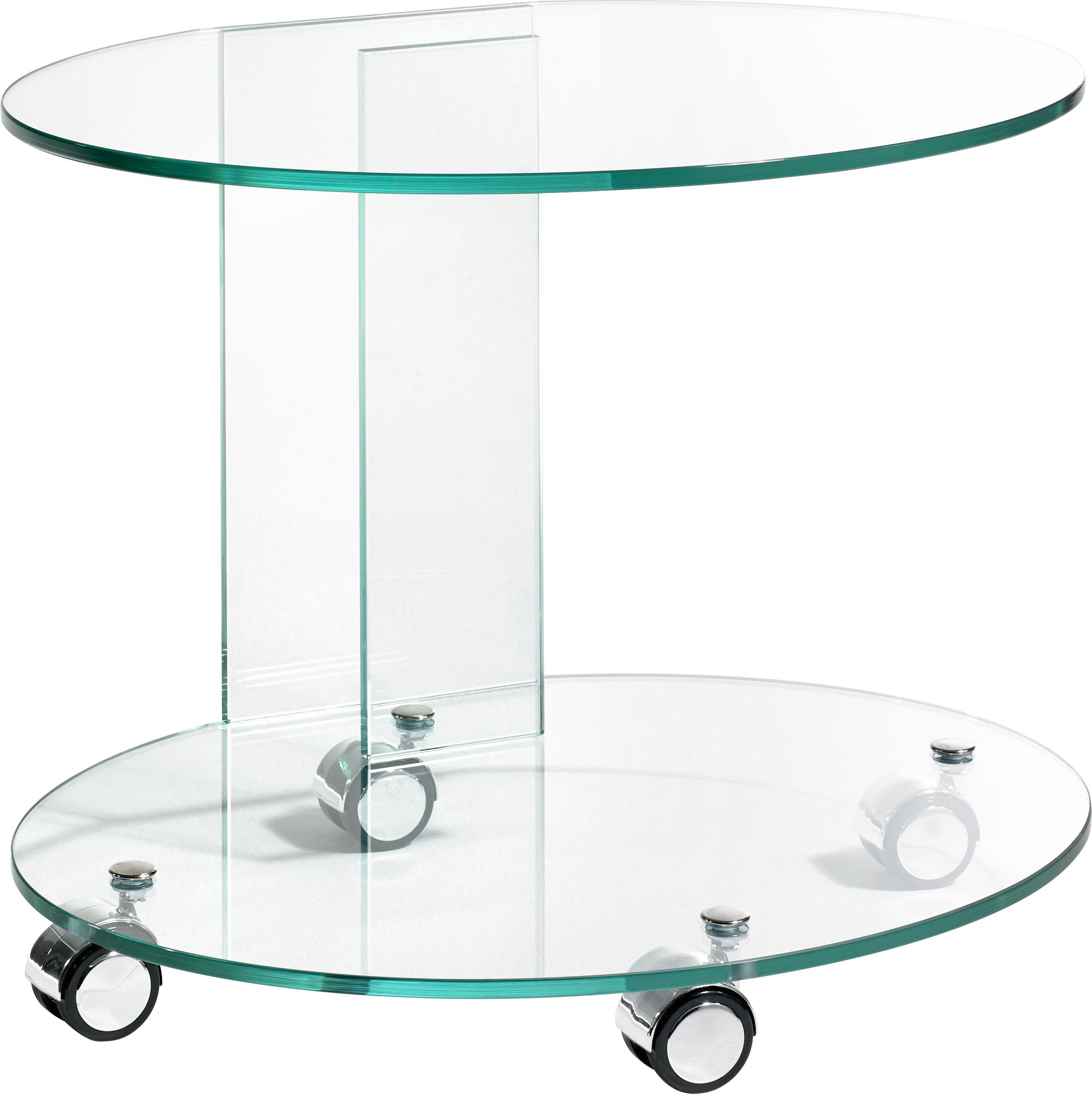 Places of Style Beistelltisch, aus Floatglas, Rollwagen, Küchenwagen farblos Beistelltische Tische Beistelltisch