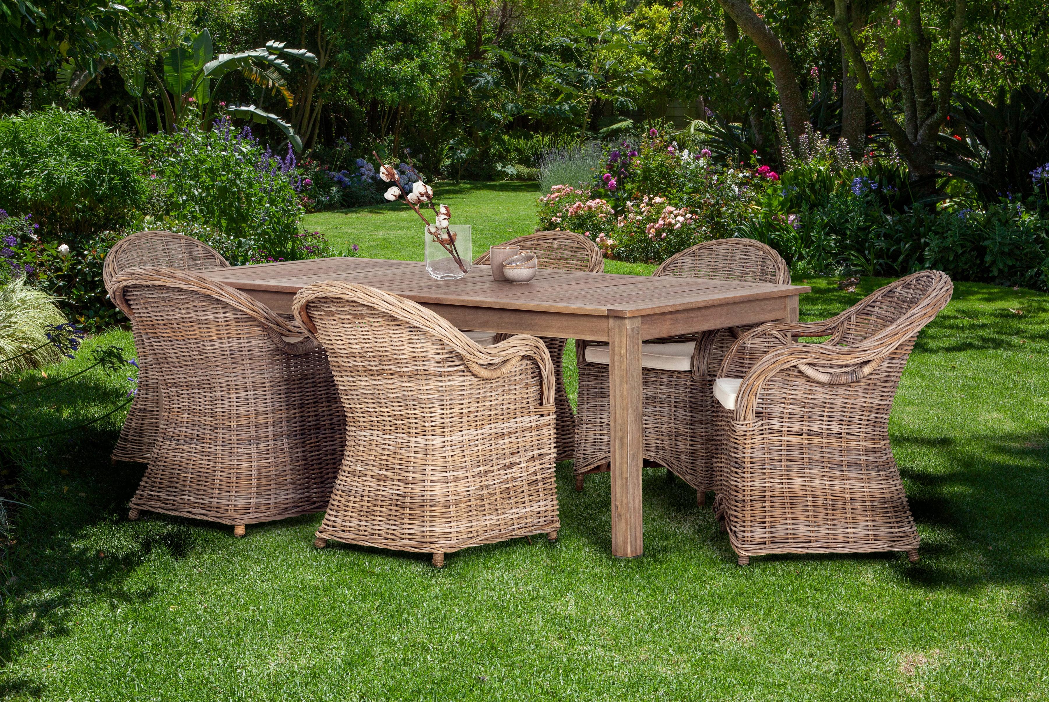 Gartenmöbelset Sumatra 7-tlg 6 Sessel Tisch 180x100 cm Rattan inkl Auflagen