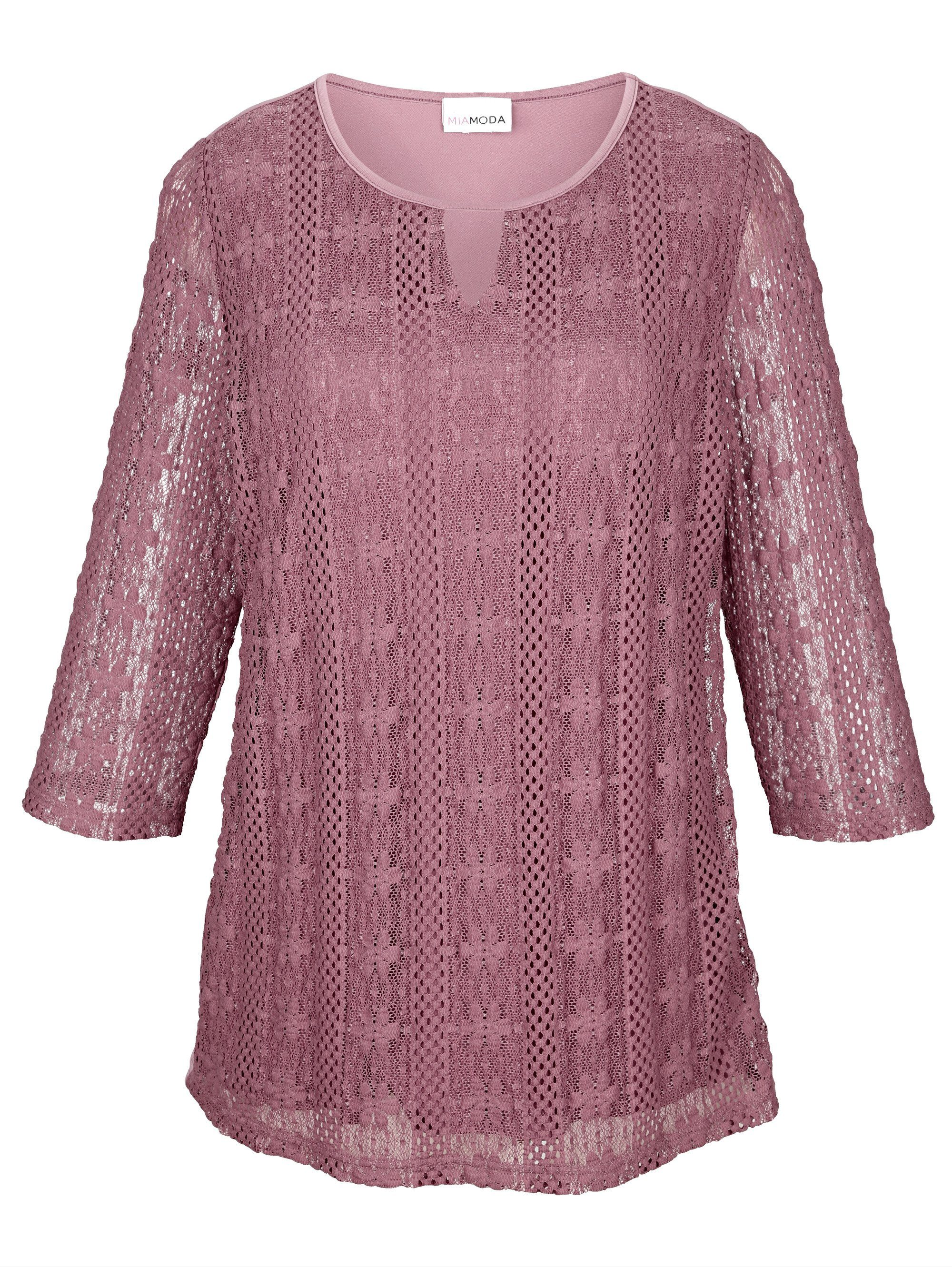 MIAMODA Spitzenshirt mit leicht transparenten Ärmeln | Bekleidung > Shirts > Spitzenshirts | Miamoda