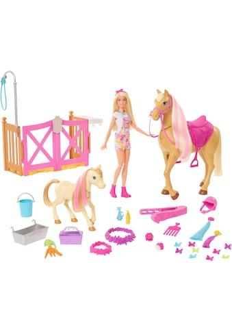 Barbie Anziehpuppe »Reiterin«, (Set), inkl. Pferd und Fohlen mit Farbwechsel-Mähne kaufen