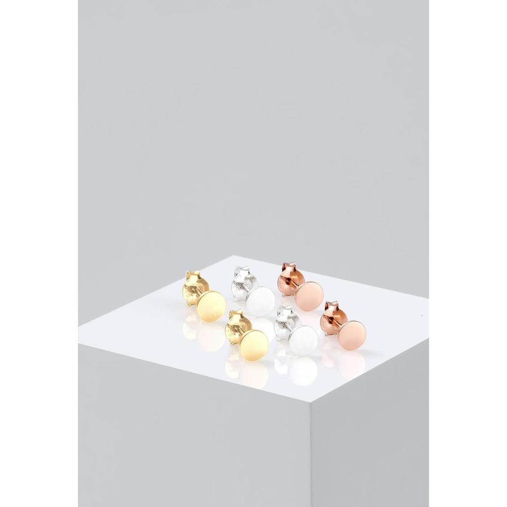 Elli Ohrring-Set »Rund Tricolor (Set, 6tlg.) 925 Silber vergoldet«