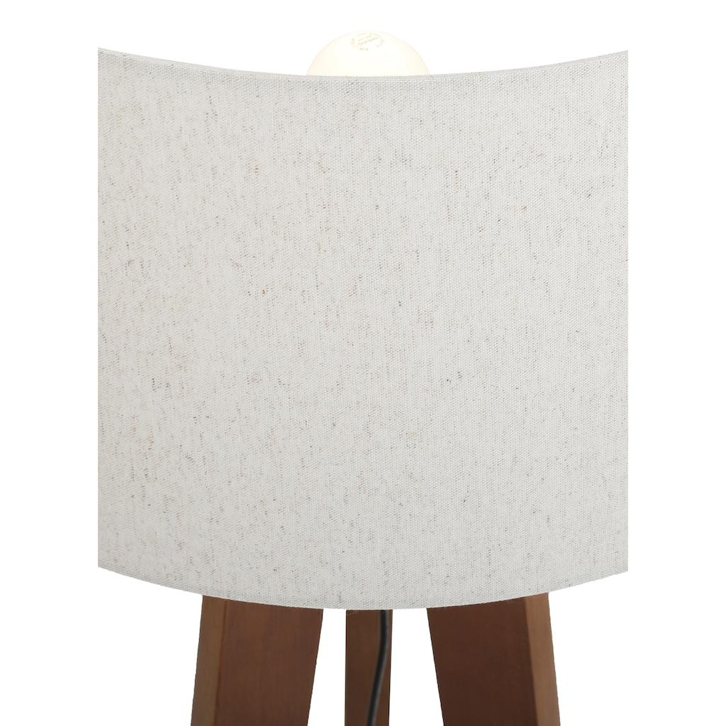 Home affaire Stehlampe »Davos«, E27, 1 St., Stehleuchte mit massivem Holz Dreibein und Leinenschirm / Stoff - Schirm Ø 45 cm, Höhe 149 cm