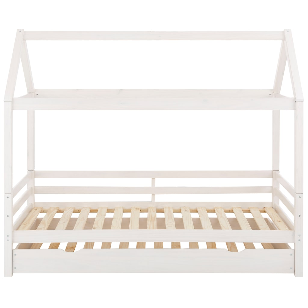 Lüttenhütt Kinderbett »Alpi«, aus massivem Kiefernholz, inklusive Bettschubkasten und Lattenrost, Liegefläche 90x200 cm, Hausbett