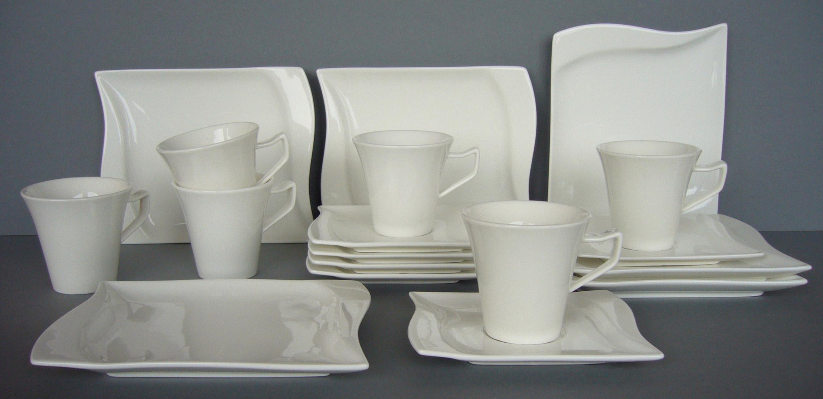 van Well Kaffeeservice Harmony, (Set, 18 tlg.), Mikrowellengeeignet weiß Geschirr-Sets Geschirr, Porzellan Tischaccessoires Haushaltswaren