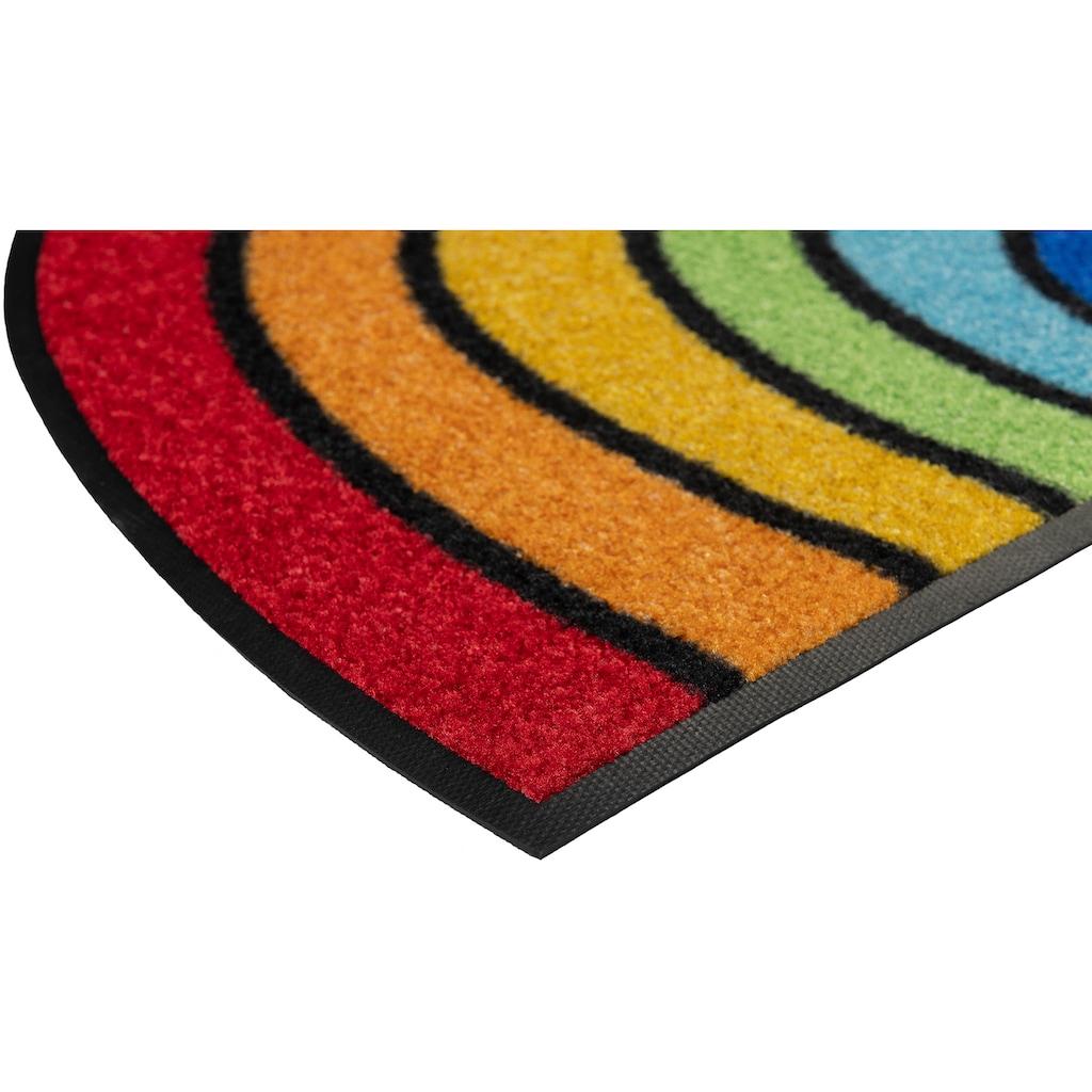 wash+dry by Kleen-Tex Fußmatte »Round Rainbow«, halbrund, 7 mm Höhe, Fussabstreifer, Fussabtreter, Schmutzfangläufer, Schmutzfangmatte, Schmutzfangteppich, Schmutzmatte, Türmatte, Türvorleger, In- und Outdoor geeignet, waschbar