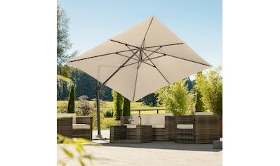 Schneider Schirme Ampelschirm »Rhodos Twist«, natur, quadratisch, ohne Wegeplatten kaufen