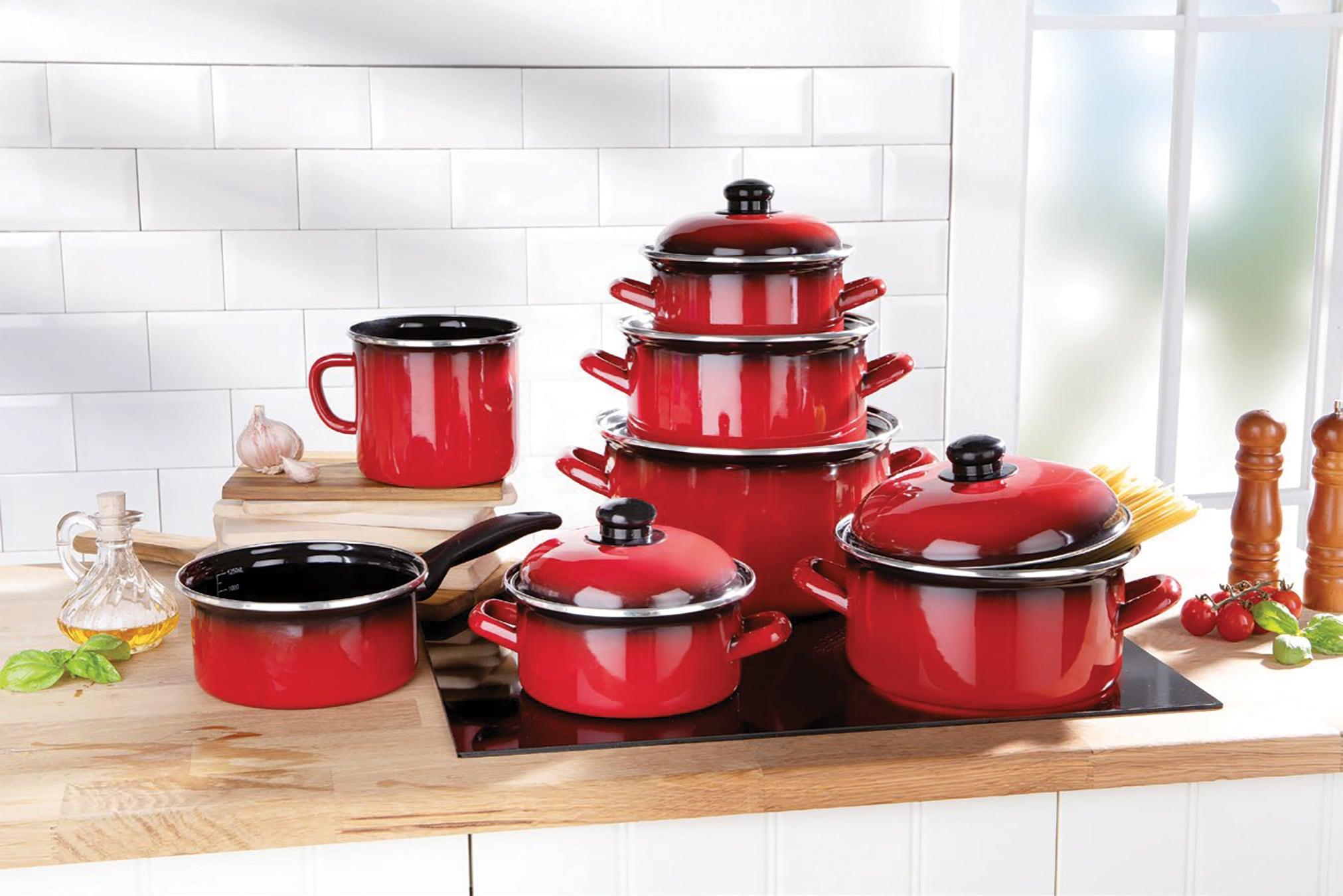 bemus Topf-Set Red Fire, emailliertes Stahlblech, (Set, 7 tlg.), Induktion rot Topfsets Töpfe Haushaltswaren