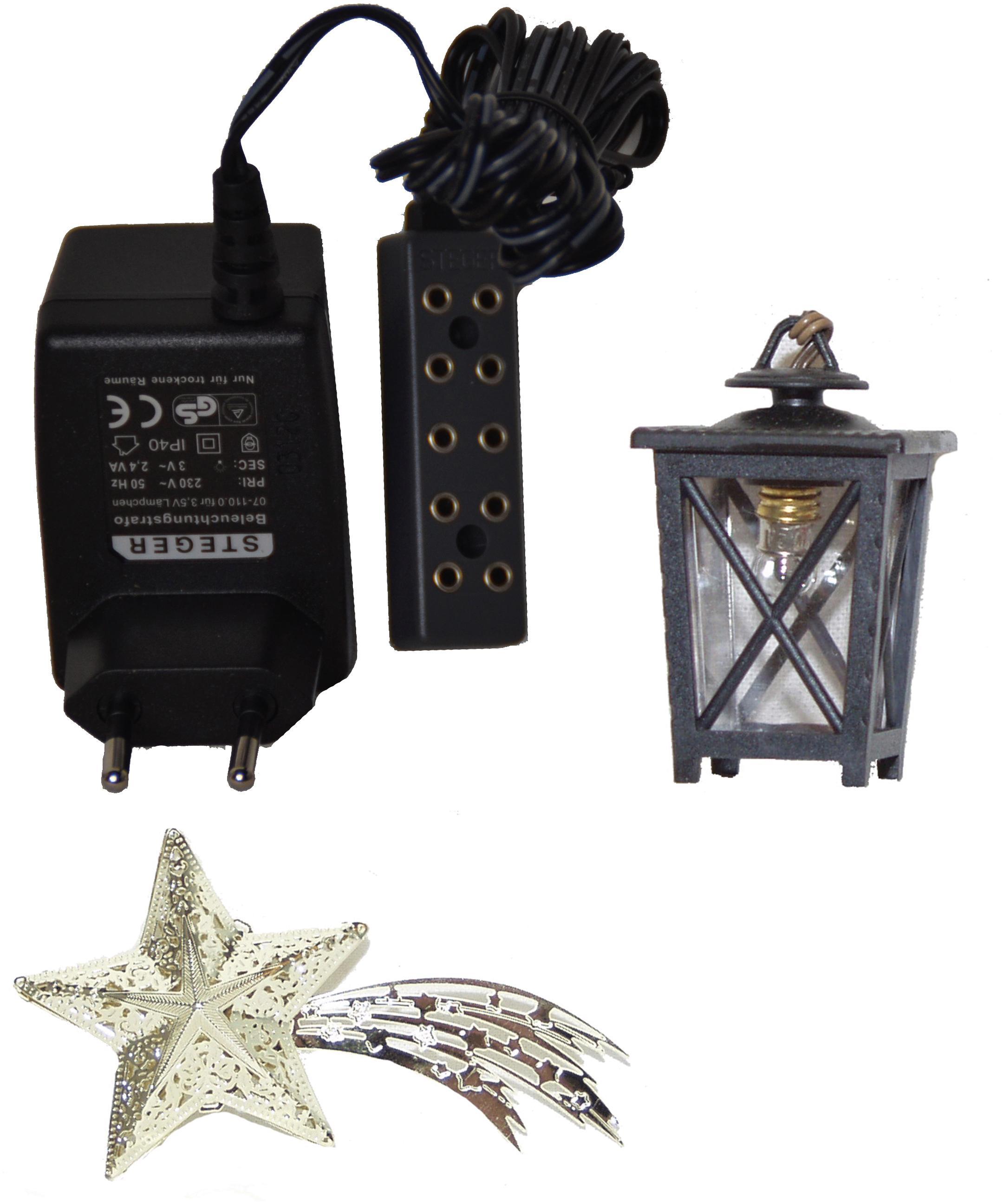 Weihnachtsbeleuchtung Zubehör.Weihnachtskrippen Zubehör Set 3 Teilig Komet Laterne U Beleuchtungstrafo