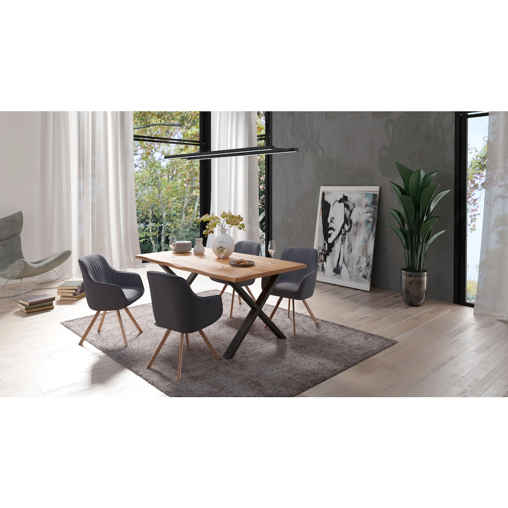 Homexperts Polsterstuhl »Carlo«, (2 Stück), mit Drehfunktion und Bezug in Webstoff