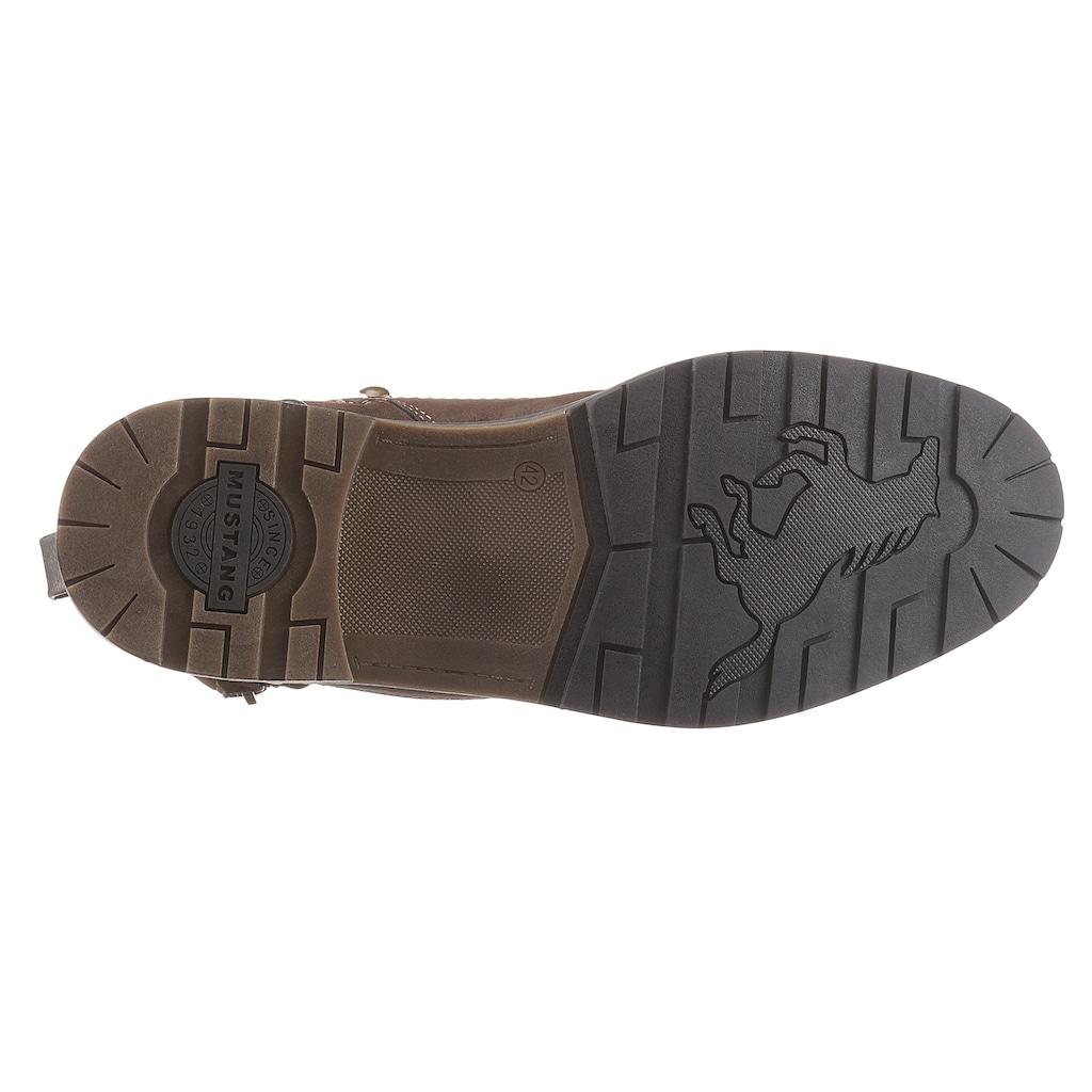 Mustang Shoes Schnürstiefel, mit Zier-Reißverschluss