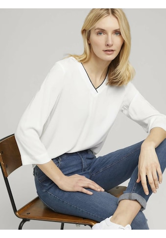 TOM TAILOR Kurzarmbluse »Basic Bluse mit V-Ausschnitt« kaufen