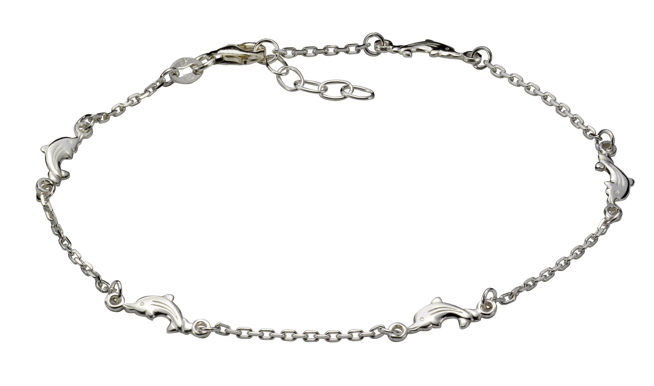 Vivance Fußkette 925/- Sterling Silber rhodiniert Delfine | Schmuck > Fußschmuck > Fußkettchen | Weiß | Vivance