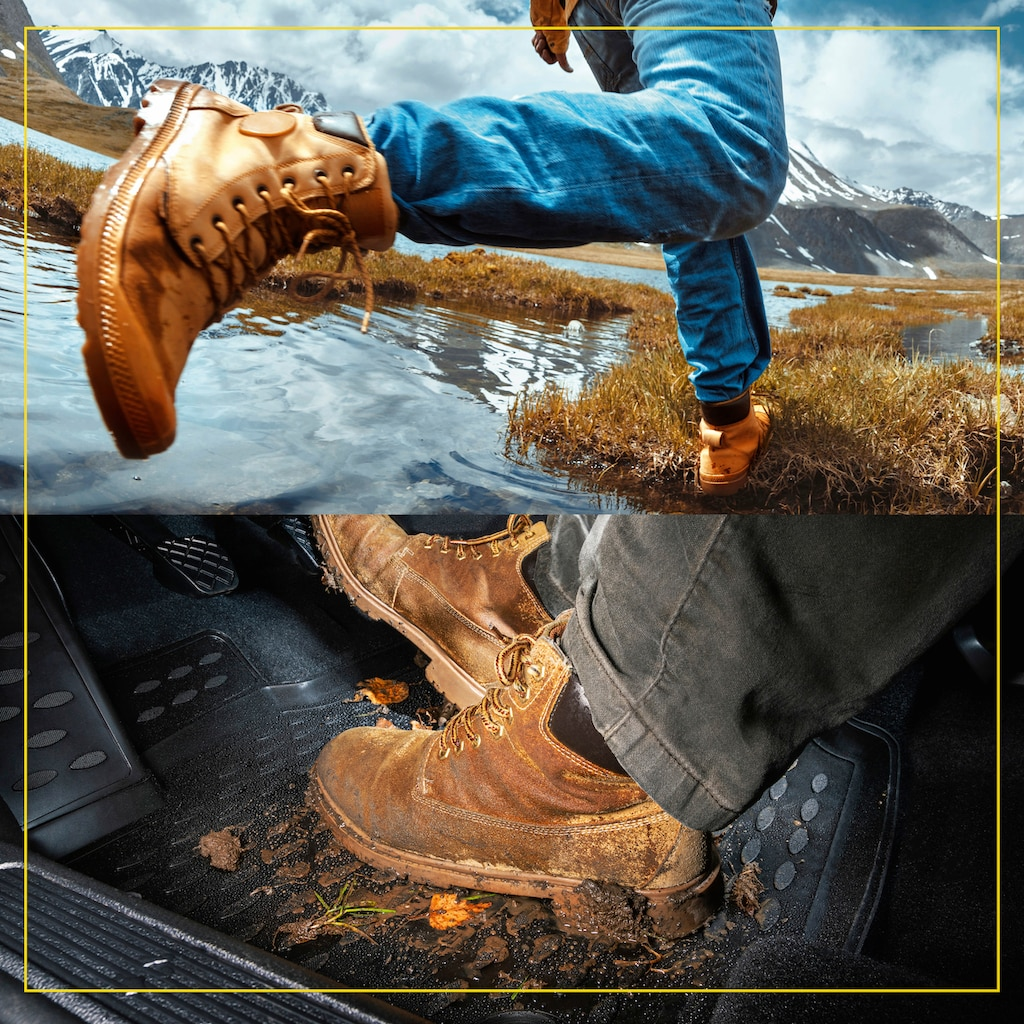 WALSER Passform-Fußmatten »XTR«, BMW, 5, Stufenheck, (4 St., 2 Vordermatten, 2 Rückmatten), für BMW 5er (F10) BJ 2009 - 10/2016